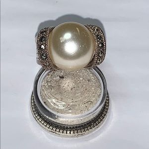 Jewelry - 925 Sterling Silver Faux Pearls & Marcasite  Ring